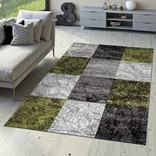 designer teppich valencia modern mit marmor optik kariert meliert grün grau weiß größe 80x150 cm