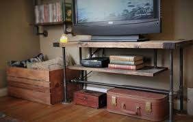 TV Console Rustic Stand Media Entertainment Center Industrial Table Steel Legs Ships From Detroit Michigan