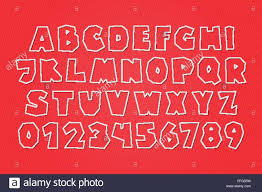 set of white paper labels stylish alphabet letters and numbers