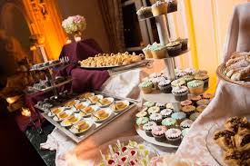 Wedding Dessert Table With Cupcakes On Tiered Stand Flan Swan Desserts Cannoli Treats