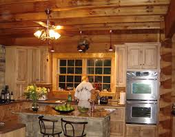 Classy Ceiling Fan Lights Hang On Wooden Plafond Over Pine Cabinetry Set And Marble Island Countertop As Decorate In Rustic Kitchen Ideas