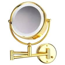 wall mounted lighted magnifying mirror 10x front view dual sided