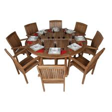 striking 8 person round outdoor dining set garden table and 8 chairs