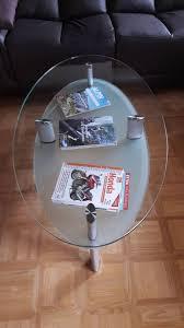 glastisch oval ggf mit zusätzlicher holzabdeckplatte in