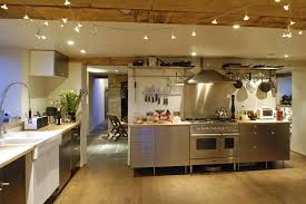 sparkling string lighting for modern kitchen decorating ideas with