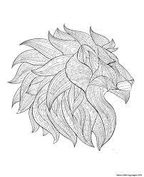 Adult Lion Head Profile Coloring Pages