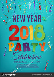 New Year 2018 Party Poster Design Template With Confetti And Colorful Ribbons On Blue Background Vector Illustration By Aleksandrsb