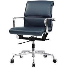 kennedy modern office chair blue vegan leather