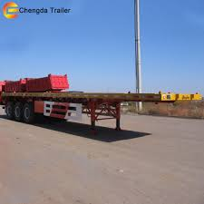 China 3 Axles 40ton 20FT And 40FT Flatbed Container Semi Truck ...