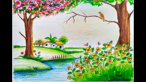 Beautiful Easy Nature Drawings For Kids How To Draw Scenery Of Spring Season Step By