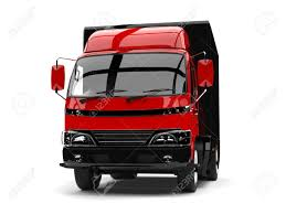 Red And Black Small Box Truck - Front View Stock Photo, Picture And ...