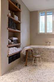 Stone Mosaic Tile With Recessed Towel Shelves Beige Wall For Rustic Bathroom Decor Ideas