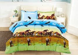 Twin Horse Bedding by Amazon Com 3 Piece Set Wild Horse And Eagle 3d Comforter Set Y25