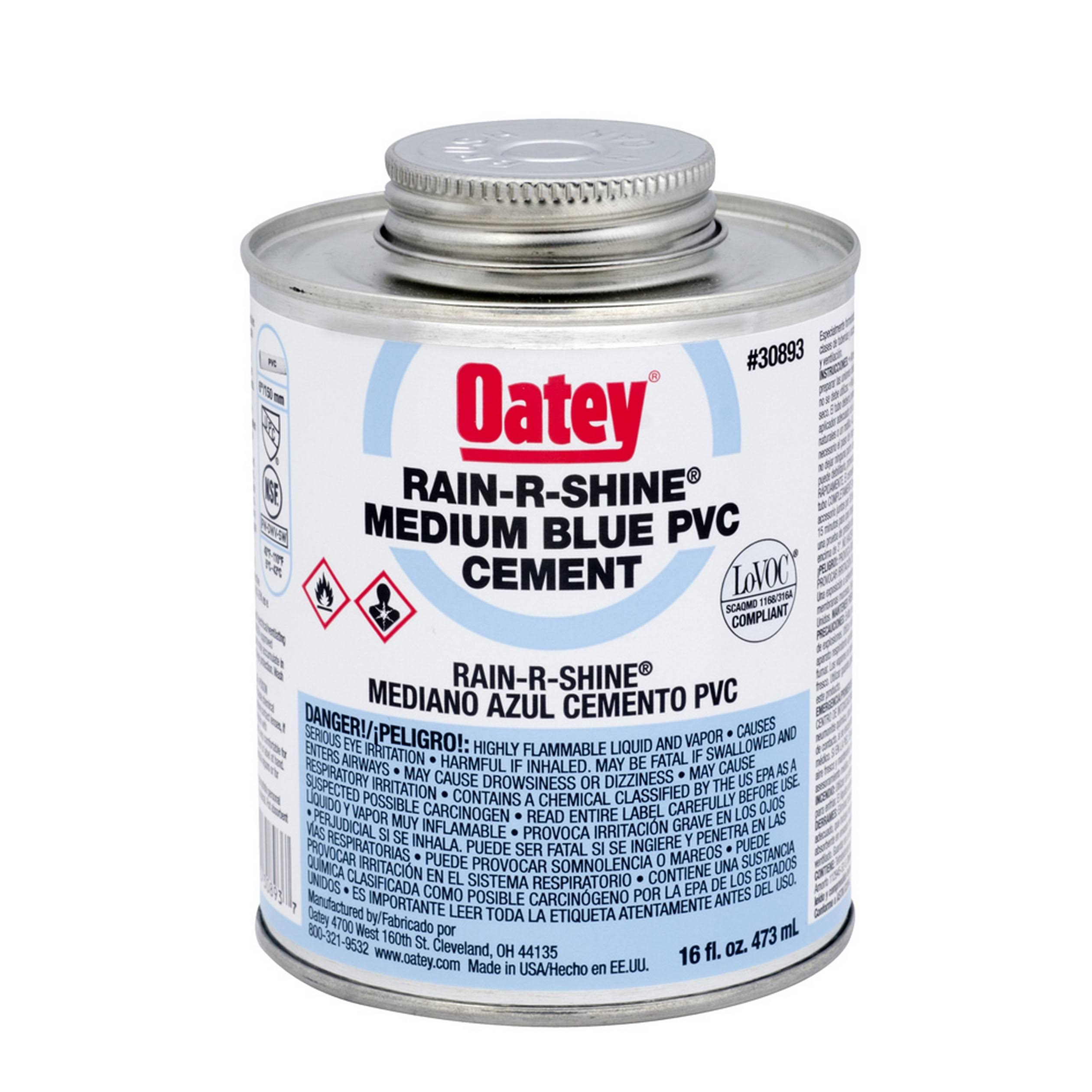 Oatey Rain-R-Shine PVC Wet Cement - Blue, 4oz