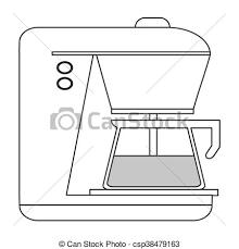 Flat Design Coffee Machine Icon Vector Illustration Clip Art