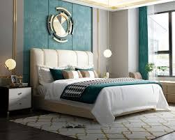 luxus bett schlafzimmer italienisches leder doppel betten metall design polster