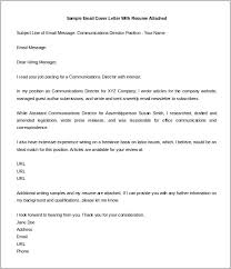 Sample Email Cover Letter With Resume Attached Editable