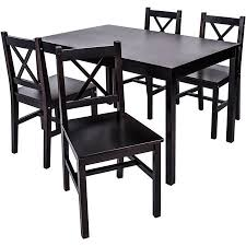 Merax 5 PC Solid Wood Dining Set 4 Person Table And ChairsEspresso