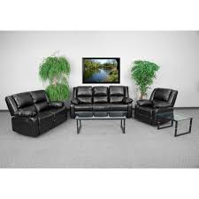 Harmony Series Black Leather Reclining 3 Piece Sofa Set By Flash Furniture