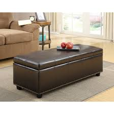 Dark Brown Bonded Leather Storage Ottoman For Minimalist Living