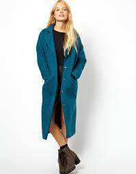 asos asos textured maxi coat in blue lyst