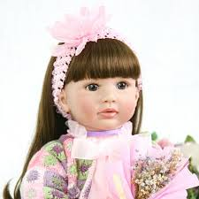 Reborn Toddler Vinyl Doll Girl Lifelike Long Hair Princess Cute Baby
