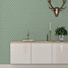 tea time ornamenttapete mit blättern in mint design tapete für schlafzimmer