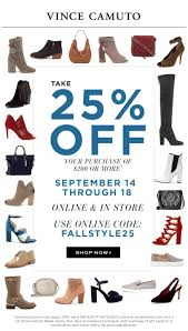Vince Camuto Coupons - 25% Off $200 At Vince Camuto, Or Online Via ... Van Dal Flat Shoes Buy Vince Camuto Womens Vivo Camuto Offer Code Coupon Vince Marleen Women Us 10 Gray Sandals Eu 40 Womens Becker Leather Low Top Slip On Fashion Sneakers 50 Off Coupons Promo Discount Codes Wethriftcom Up To 70 Camutoshomules Clogs You Love Get Baily Crossbody Bag Princey 85 How To Use Promo Codes And Coupons For Vincecamutocom Shop Black Wavy Tote Women Nisnass Kuwait Elvin Bootie Kain 9 Multi Color Home