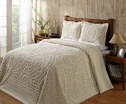 Oversized King Bedspread Chenille f White Beige Plush Cotton