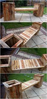 Pallet Bench With Attached Planters Palletoutdoorfurniture