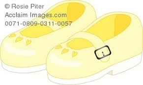 Royalty Free Clipart Illustration Of A Little Girls Yellow Dress Shoes