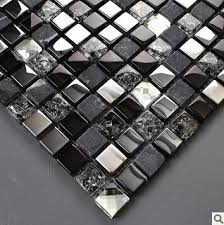 black silver glass mosaic kitchen wall tiles backsplash sgmt165