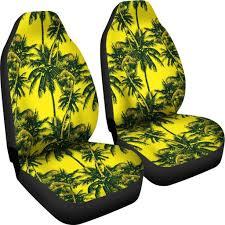 Yellow Palm Tree Pattern Print Universal Fit Car Seat Covers