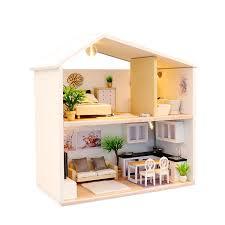 Cheap Wooden DIY Handmade SelfAssemble Dollhouse Mini House 13827