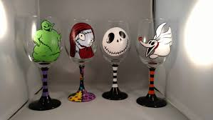 Nightmare Before Christmas Bathroom Set by Nightmare Before Christmas Hand Painted Wine Glasses