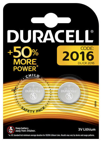 Duracell Specialty 2016 Lithium Coin Battery - 3V, 2pk