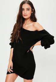 ayvan off shoulder knitted sweater dress black missguided