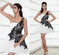 one shoulder short prom dresses white with black lace elegant