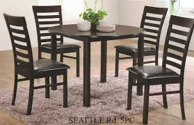 5 Pc Seattle Espresso Finish Wood 42 Round Dining Table Set This Includes