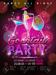 Fantastic Cocktail Party Poster Design With Abstract Background Stock Vector