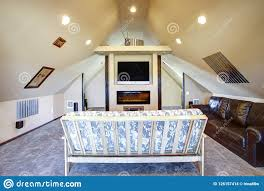 100 Ranch House Interior Design Chic Attic Living Room With Sloped Ceiling Stock Photo Image Of