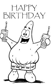 Happy Birthday Greetings Patricks Sponge Bob Coloring Pages