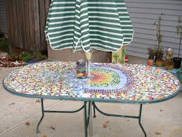 lovely custom oval patio table with appealing colorful mosaic