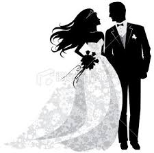 Bride And Groom Silhouette Clipart Black White 1