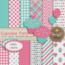 Cupcake Theme Digital Papers And Clipart