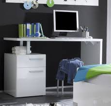 bureau enfant moderne blanc laqué 1 porte 2 tiroirs lys