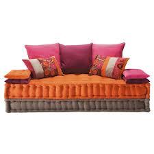 canapé lit maison du monde banquette 2 3 places en coton multicolore banquette place et coton