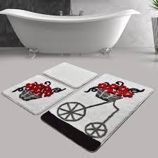 3 tlg badteppich set emiliah ebern designs farbe transparent rot