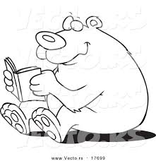 Vector Of A Cartoon Happy Bear Reading