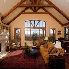 Rustic Living Room With Vaulted Ceiling Oriental Rug